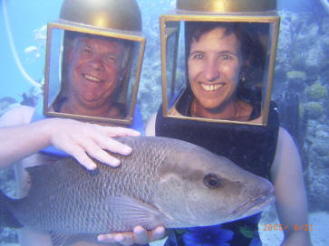 Helmet Divers in Bermuda with Snapper