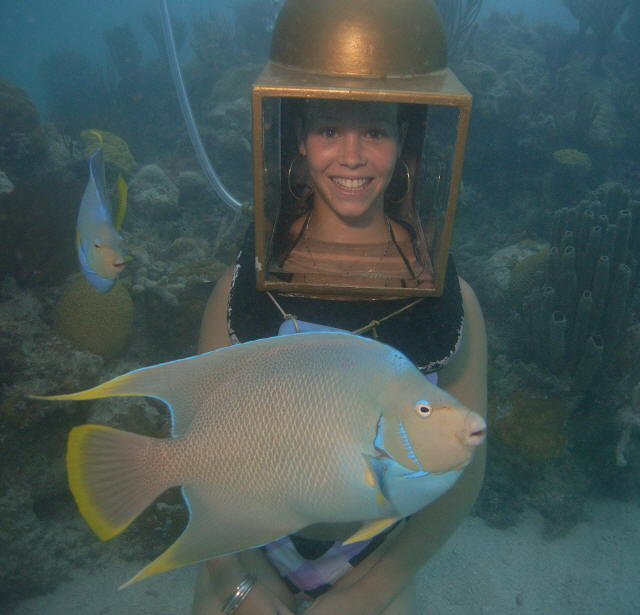 Sandy Hartley helmet diving in Bermuda with angelfish.