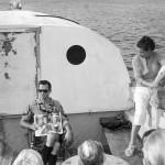 Helmet diving boat in Harrington sound, Bermuda