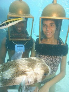 Puffer with afro-american helmet divers.