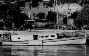 Bronson Hartley's Helmet diving boat at the Coral Island Hotel in Flatts Village Bermuda circa 1965.