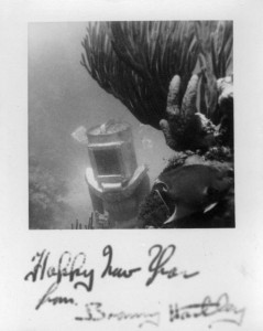 1930's helmet diving new years card