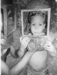 Greg Hartley at age 3.5 helmet diving in Nassau