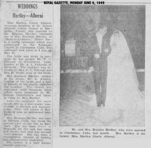 Photo of Bermuda Royal Gazette 1949 article on marriage in Cuba of Bronson Hartley and Martica Alberni