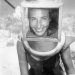 Photo of Martica Hartley helmet diving in Bermuda