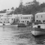 Black and white image of two Hartley owned boats in Flatts Village before 1958.
