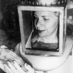 Female helmet diver with blue stripped grunt, circa 1959