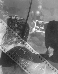 Filming of Mainstreet Undersea by Bronson Hartley, in Bermuda 1950's starring Martica Hartley.