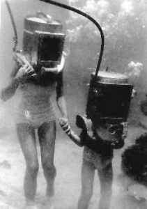 Photo of Bronson Hartley's helmet divers in the early days of Bermuda. Circa 1949