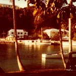 Early 1970's color photo of dive vessel Carioca at the Coral Island Hotel dock