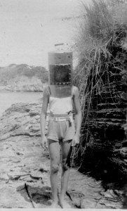 Bronson Hartley, at age 10, with prototype diving helmet.