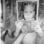 Greg Hartley at age 3.5 helmet diving in Nassau
