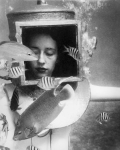 Photo of a young woman helmet diving with an angelfish, late 1940's